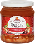 Canned beans in tomato sauce with mushrooms
