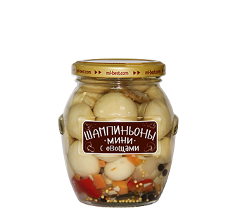 Marinated mini-champignons with vegetable