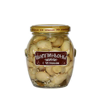 Marinated mini-champignons with garlic